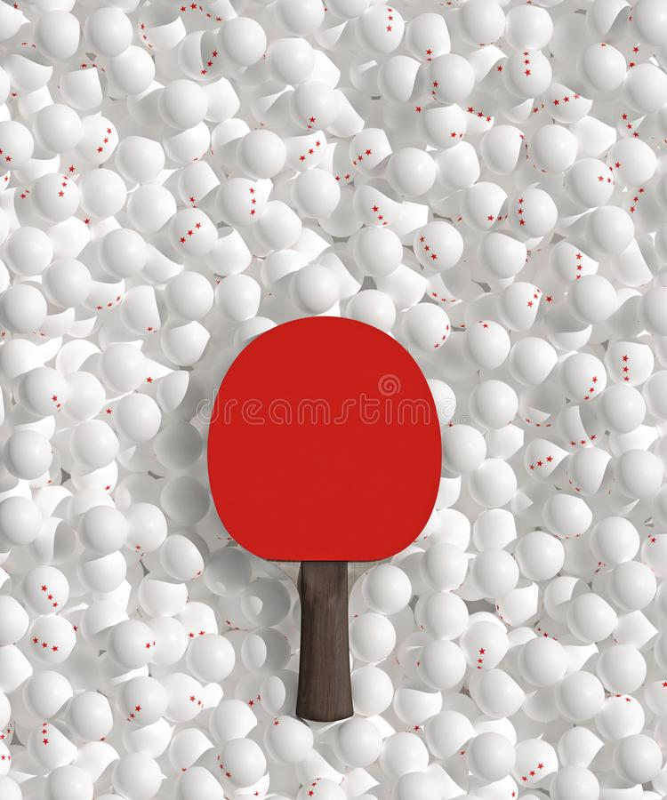 Plenty of three stars scattered white Ping pong balls and racket. table tennis poster design idea. 3d illustration. royalty free illustration