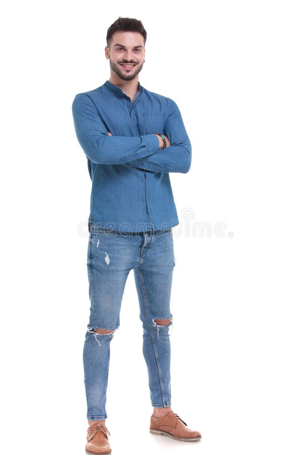 Free Plesed Casual Man Standing With His Arms Crossed Stock Photography - 161648062