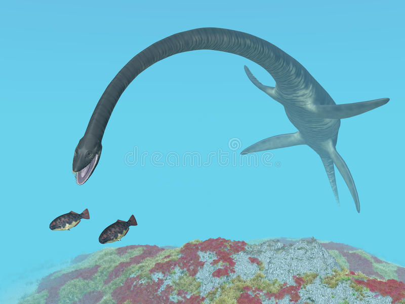 Plesiosaur Elasmosaurus royalty-vrije illustratie