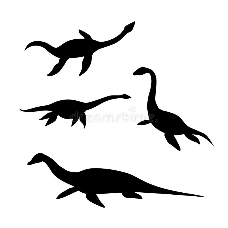 Plesiosaur vectorsilhouetten royalty-vrije illustratie
