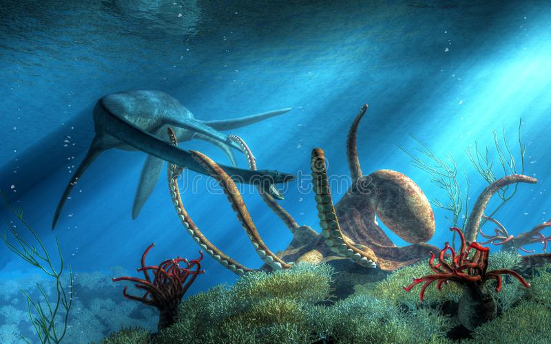 Plesiosaur vs Octopus. Under the surface of the Cretaceous sea, two mighty beasts do battle. A giant octopus has snared a styxosaurus in its tentacles, a fight vector illustration