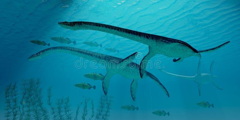 Plesiosaurus flyttning stock illustrationer