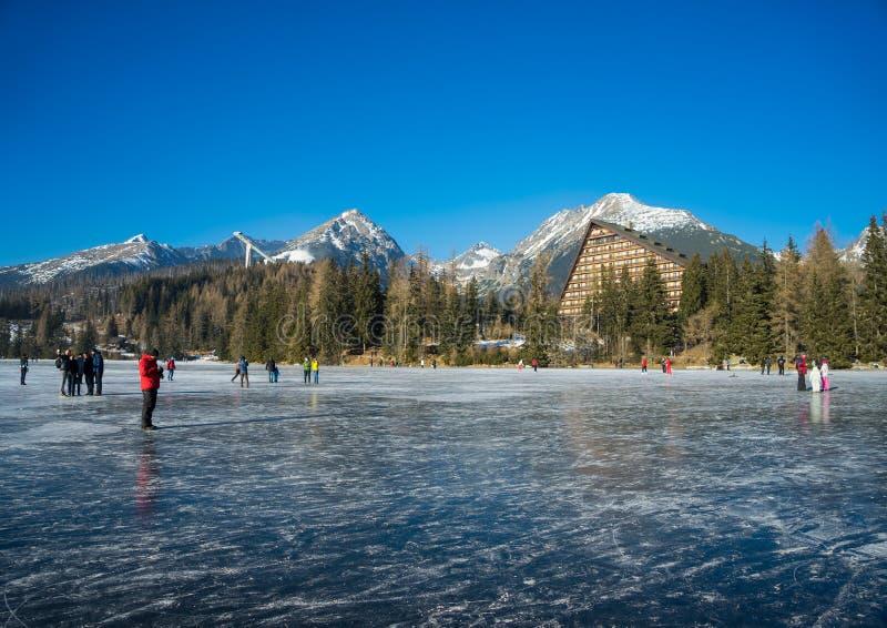 Pleso de Strbske do lago em Tatras elevado fotografia de stock royalty free