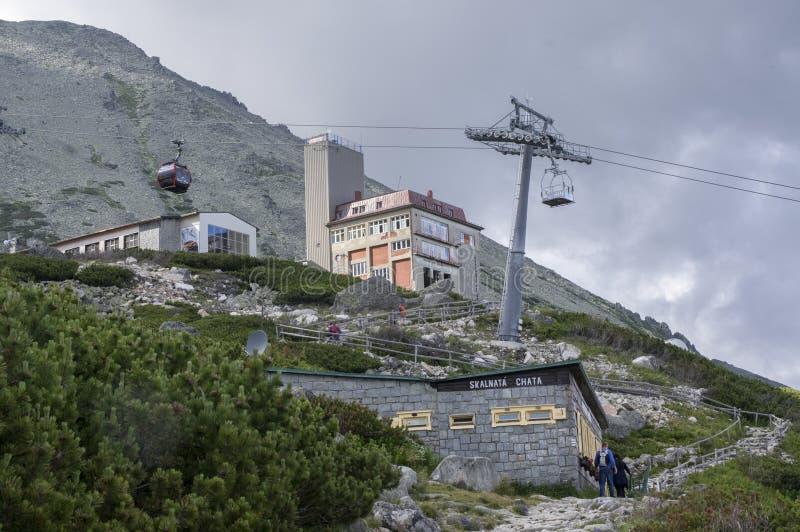 Pleso Skalnate, υψηλά βουνά Tatra/ΣΛΟΒΑΚΙΑ - 6 Ιουλίου 2017: Cableway από το χωριό Tatranska Lomnica στο pleso Skalnate σταθμών στοκ εικόνα με δικαίωμα ελεύθερης χρήσης