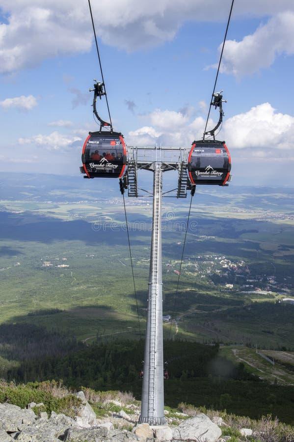 Pleso Skalnate, υψηλά βουνά Tatra/ΣΛΟΒΑΚΙΑ - 6 Ιουλίου 2017: Cableway από το χωριό Tatranska Lomnica στο pleso Skalnate σταθμών στοκ φωτογραφία με δικαίωμα ελεύθερης χρήσης