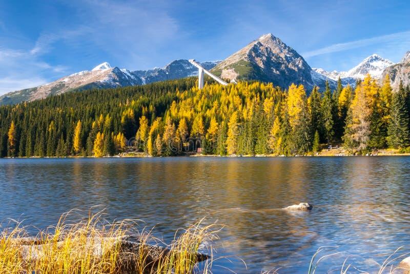 Pleso Strbske λιμνών βουνών, υψηλό Tatras, Σλοβακία στοκ φωτογραφία