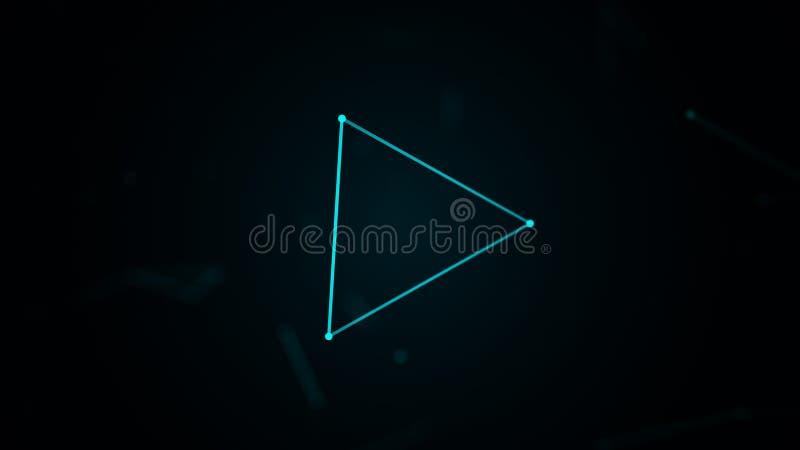 Plesso di Digital con la forma del triangolo di linee e di punti d'ardore Priorit? bassa futuristica astratta rappresentazione 3d royalty illustrazione gratis