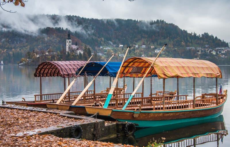 Pletna łodzie na jeziorze Krwawili Slovenia fotografia stock