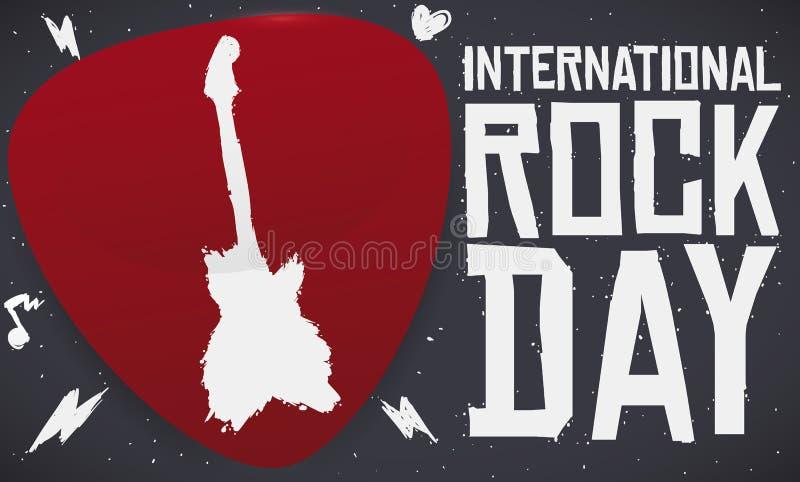 Plettro con la siluetta della chitarra per la celebrazione internazionale di giorno della roccia, illustrazione di vettore illustrazione di stock