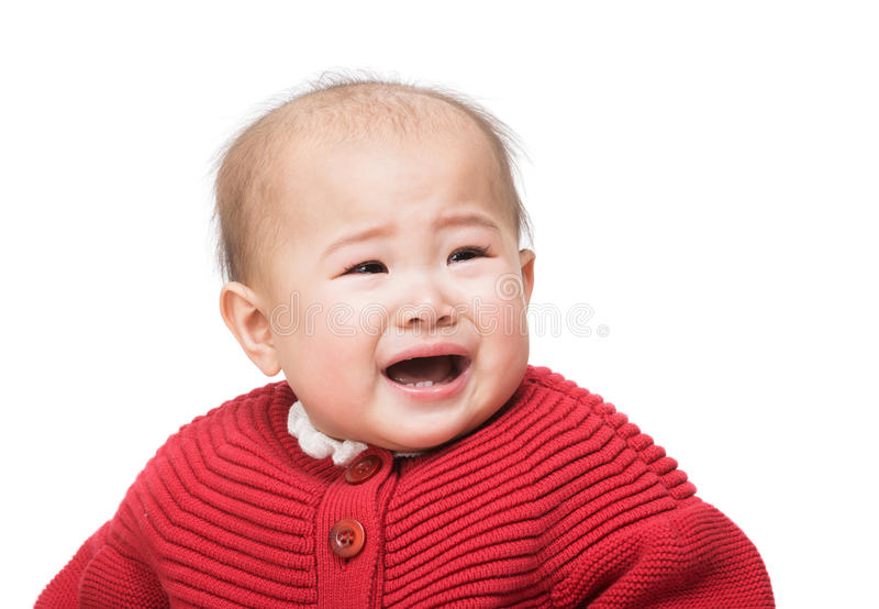 Pleurer asiatique de bébé photo stock