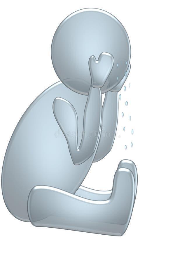 Pleurer bleu bouleversé de type illustration de vecteur