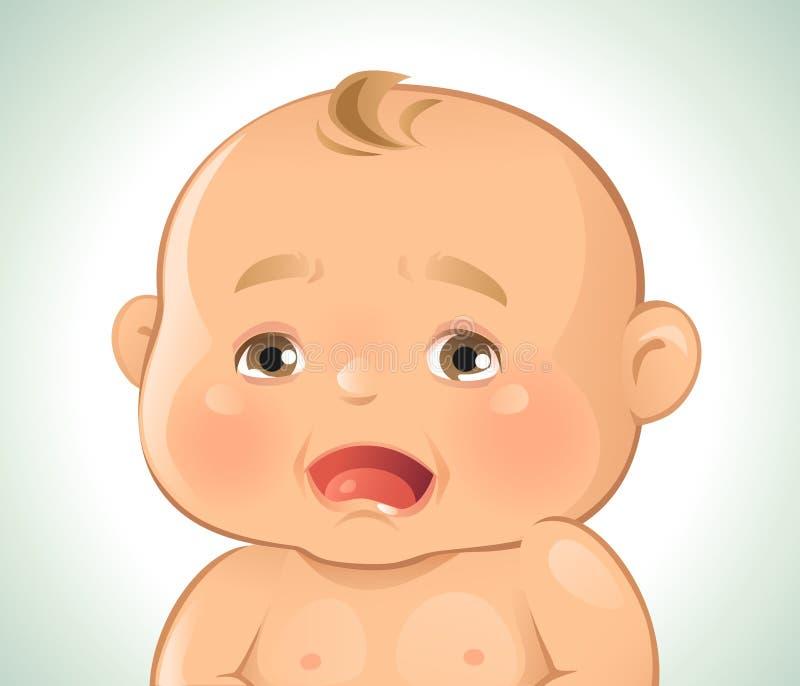 Pleurer d'émotions de bébé illustration stock