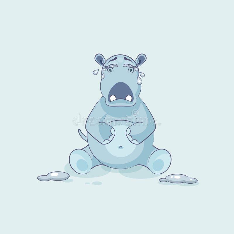 Pleurer d'hippopotame de bande dessinée de caractère d'Emoji illustration de vecteur