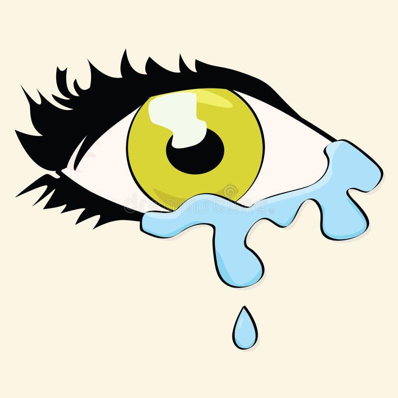 Pleurer d'oeil de dessin animé illustration de vecteur