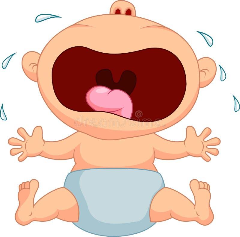 Pleurer de bande dessinée de bébé garçon illustration stock