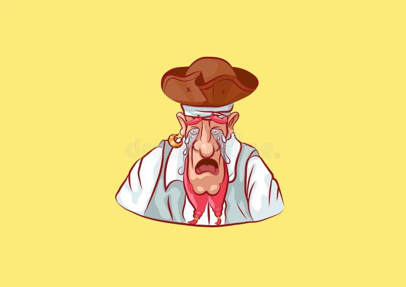 Pleurer de mascotte de marin de capitaine de marin d'autocollant d'Emoji illustration stock
