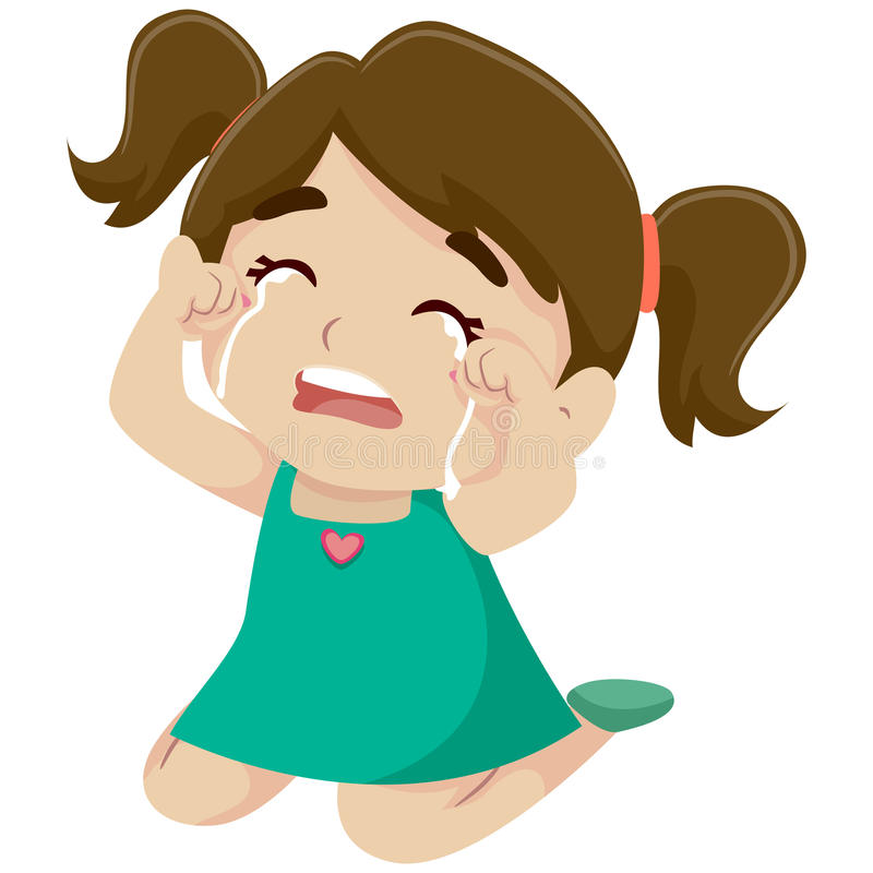 Pleurer de petite fille illustration stock