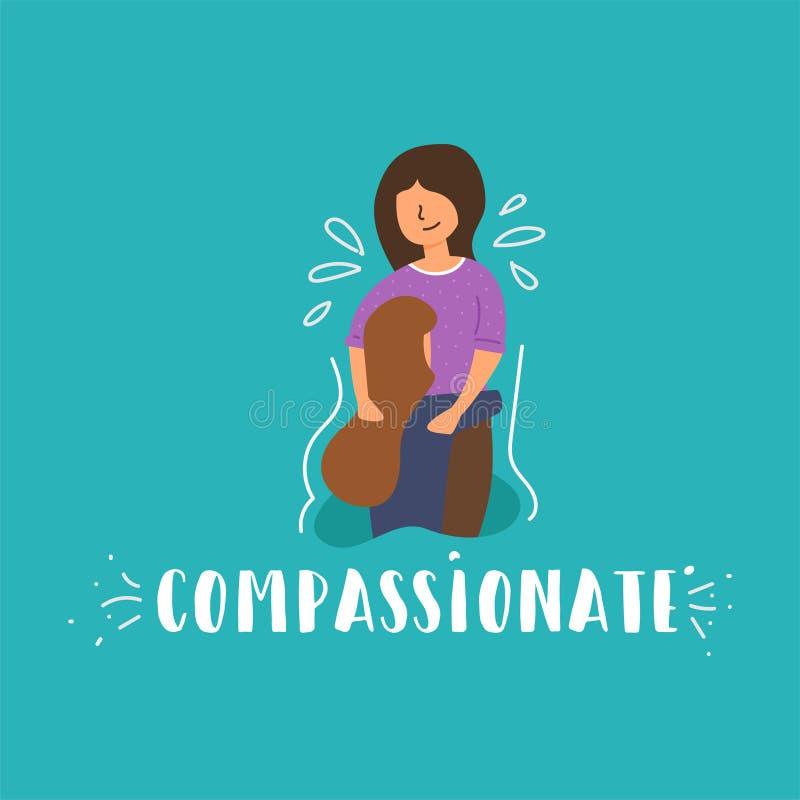 Pleurer plat de fille de fille de compassion de bannière de vecteur illustration de vecteur