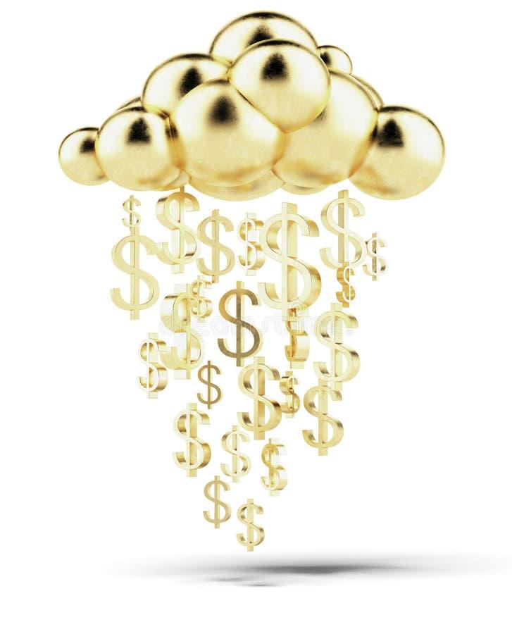 Pleuvoir des dollars d'or illustration stock