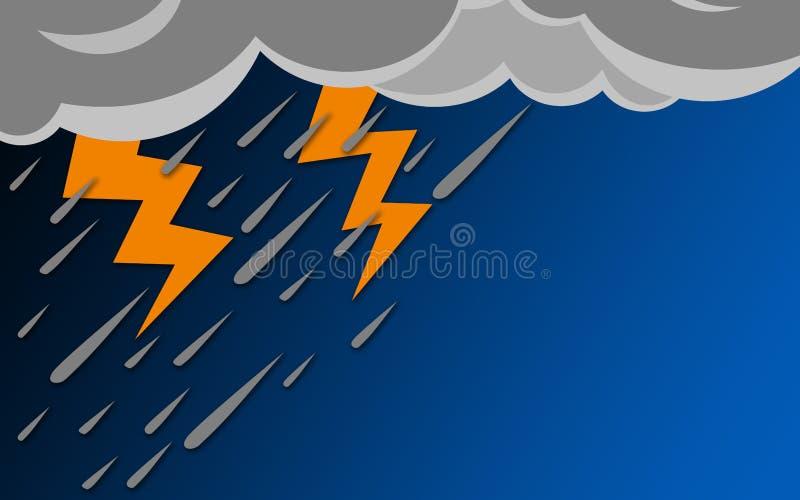 Pleuvoir le jour avec le ciel bleu illustration libre de droits