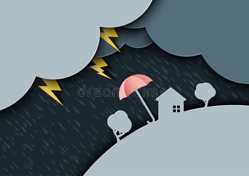Pleuvoir le jour sur le fond de mousson de saison des pluies avec la PA de parapluies illustration libre de droits