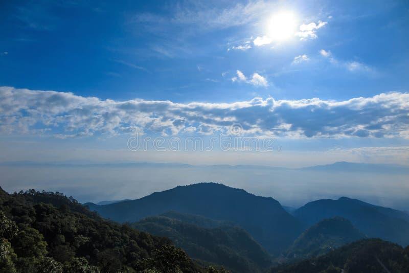Pleuvoir le Mountain View forrest avec la lumière du soleil, brouillard de nuage photos stock
