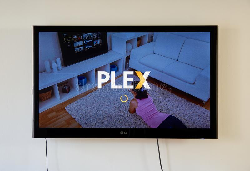 Plex app and logo on LG TV screen. MONTREAL, CANADA - NOVEMBER 15, 2017: Plex app and logo on LG TV screen. Plex is a client-server media player system and royalty free stock photography