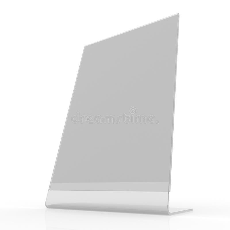 Plexi pokaz - karta właściciela mockup obraz stock