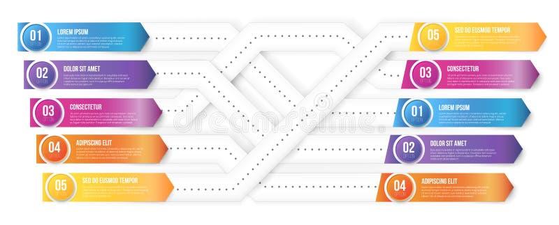 Plexiform infografics Pfeilvektor gezeigt auf unterschiedliche Arten stock abbildung