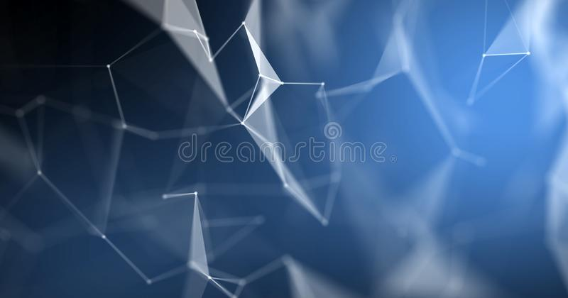 Plexus abstract background, 3D light technology geometric wireframe. Blue polygon structure with lines and dots connection nod. Plexus abstract background, 3D vector illustration