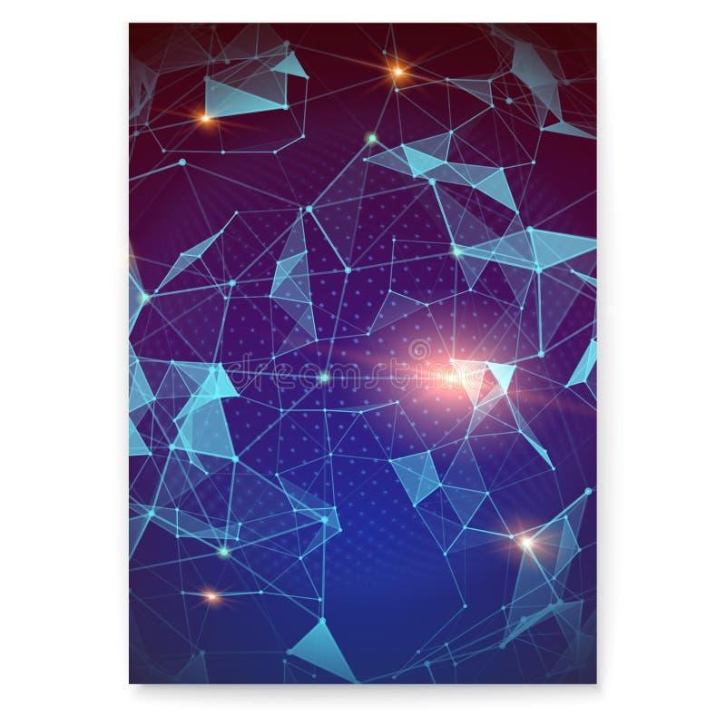 plexus Abstrakcjonistyczny cyfrowy plakat reprezentuje globalną interakcję Pojęcie globalna sieć dla finanse ilustracji