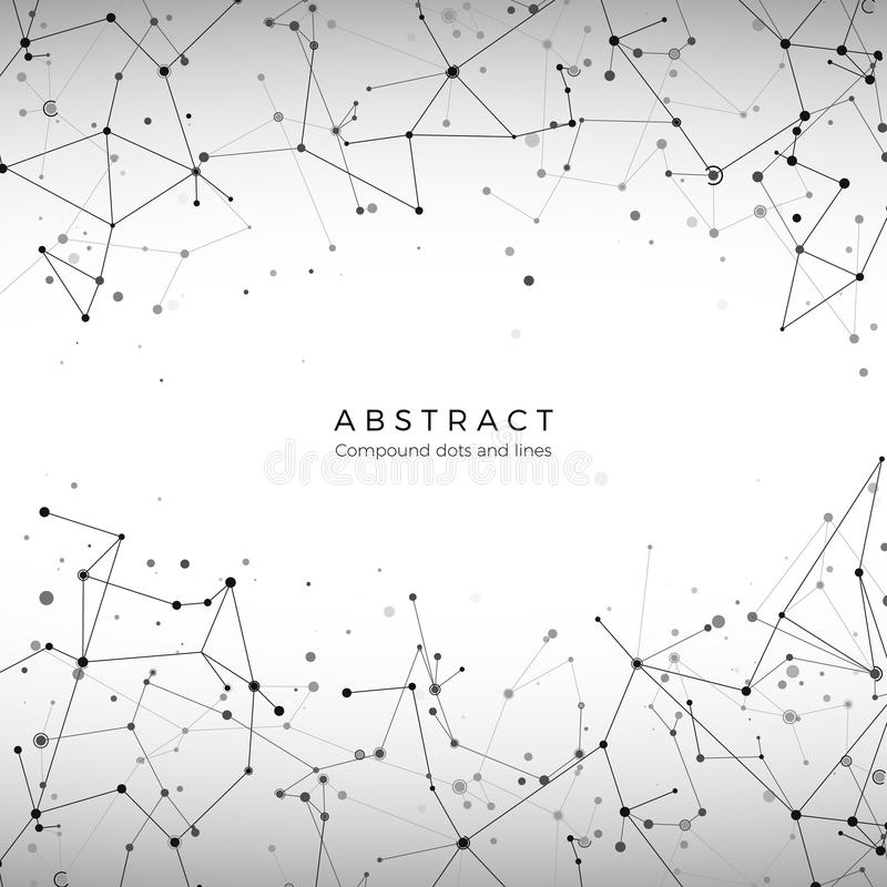 Plexus array pattern. Particles, dots and lines. Digital mesh big data concept. Element of technology background. Vector. Polygonal illustration royalty free illustration