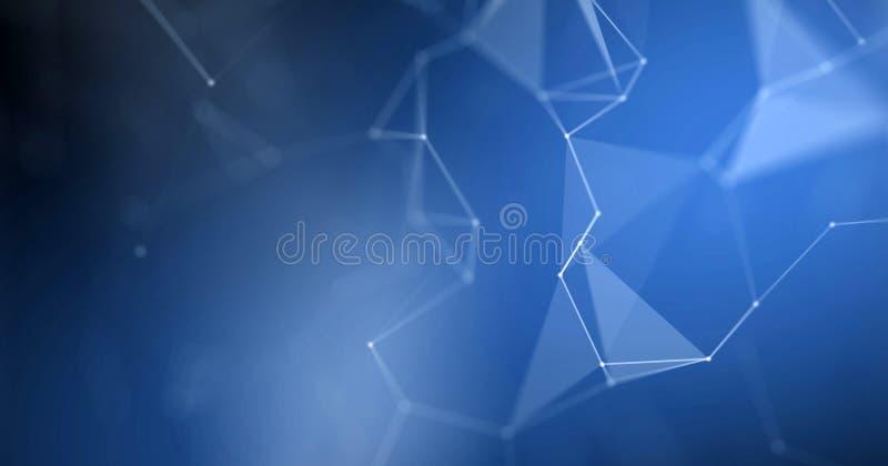Plexus background, abstract blue geometric polygon wireframe. Blue 3D futuristic background, light blur effect royalty free illustration