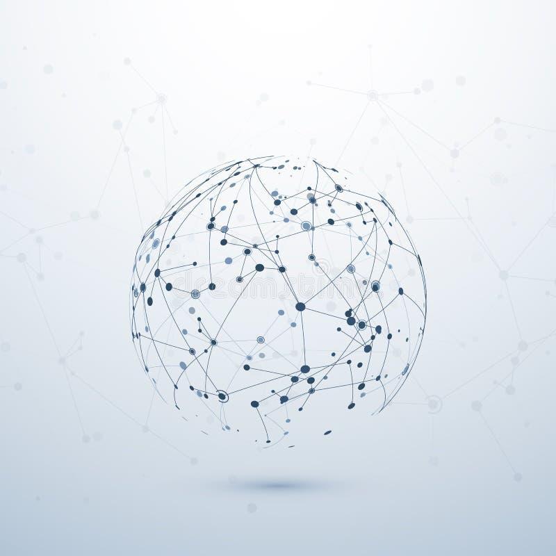 Plexus dane visualisation Powikłany chemiczny guzka związek kolor tła pojęcia, niebieski internetu Wireframe sieci struktura wekt royalty ilustracja