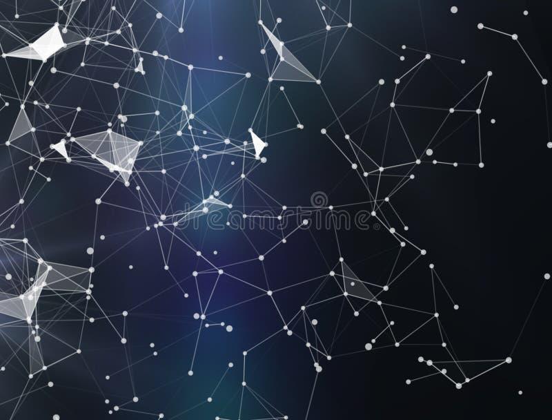 Plexus fantazi inżynierii i technologii abstrakcjonistyczny tło świadczenia 3 d Abstrakcjonistyczny cyfrowy tło z cybernetycznymi royalty ilustracja
