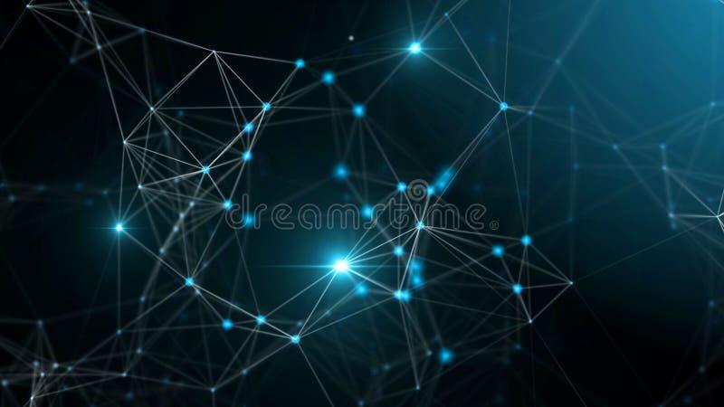 Plexus fantazi inżynierii i technologii abstrakcjonistyczny tło ilustracja wektor