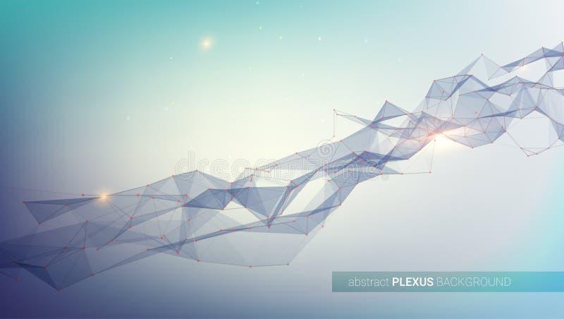 plexus Fond digital abstrait Concept de réseau communiquer Structure avec les points reliés et les cellules triangulaires illustration libre de droits