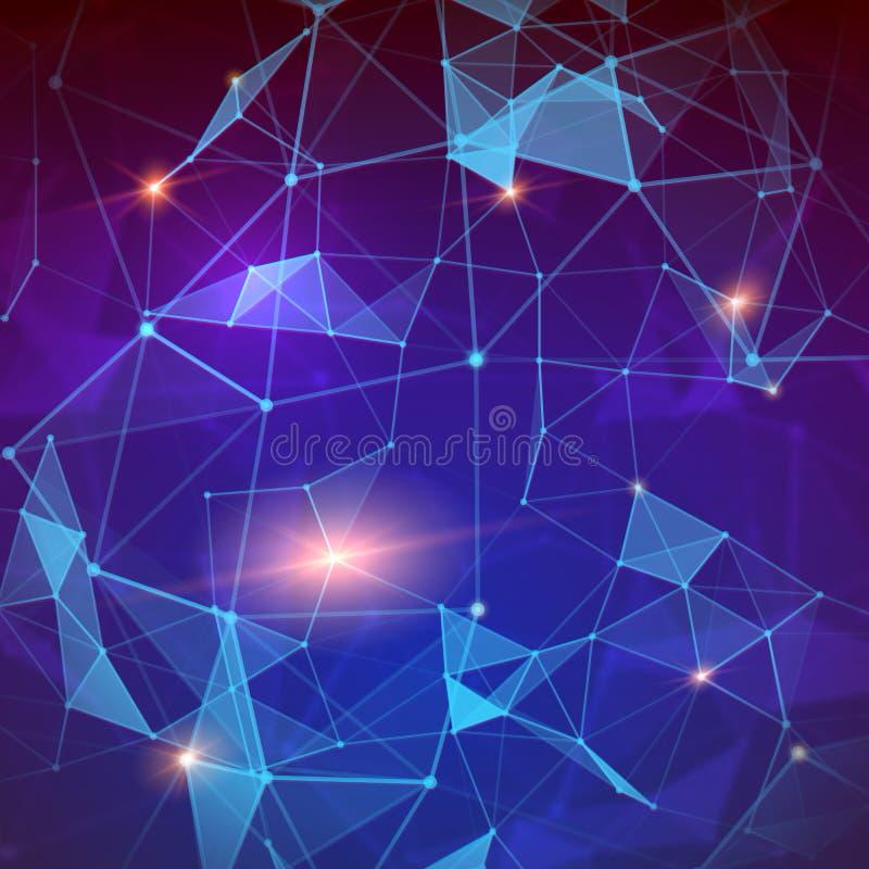 plexus Fundo geométrico abstrato moderno Tecnologia da informação Conceito da conexão a Internet e do rádio ilustração do vetor