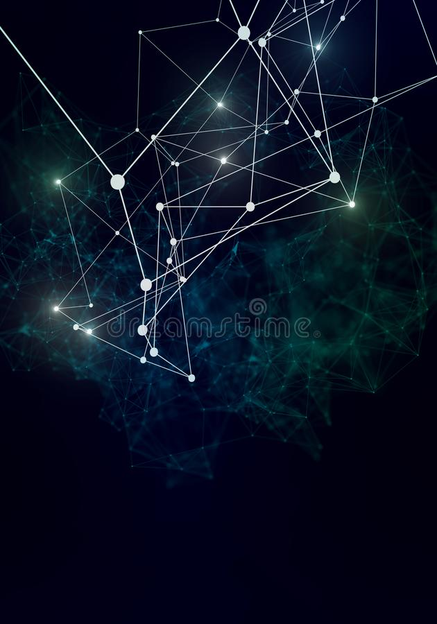 Plexus lines, dots and light beams with light points. Abstract technology, science and engineering background. Depth of field royalty free illustration