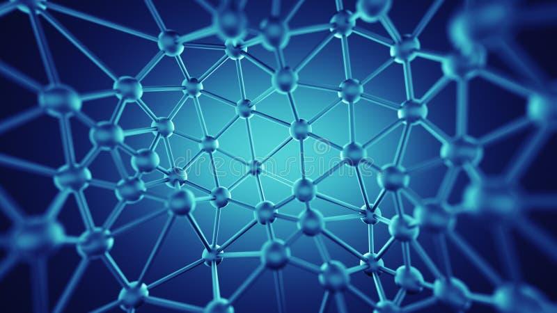 Plexus linie i guzek sieci abstrakcjonistyczny 3D rendering ilustracji