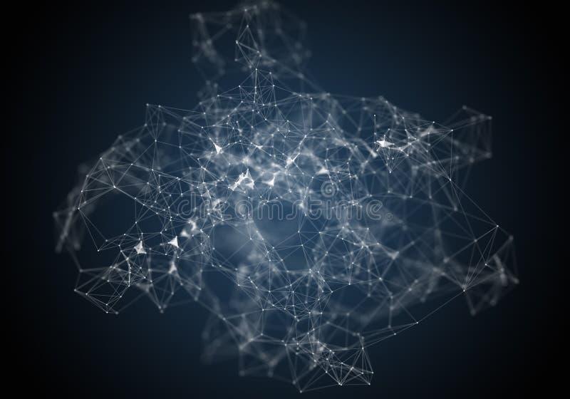 Plexus linie, kropki i lekcy promienie z lekkimi punktami, Abstrakcjonistyczny technologii, nauki i inżynierii tło, Głębia pola s royalty ilustracja