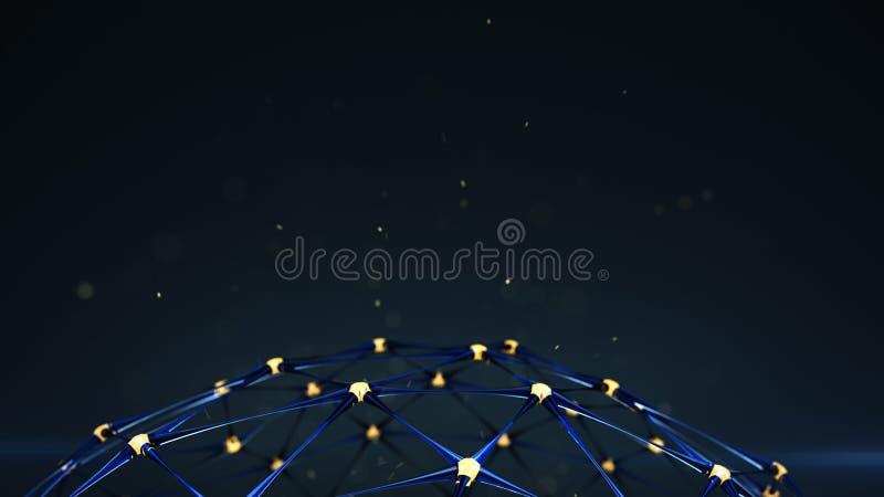 Plexus sieci struktura z rozjarzonym guzków 3D renderingiem ilustracja wektor