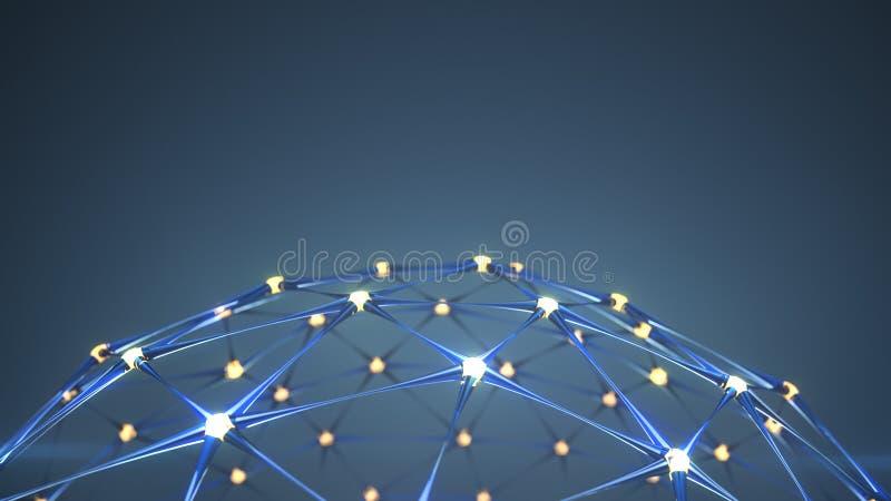 Plexus sieci struktura z rozjarzonym guzk?w 3D renderingiem ilustracji
