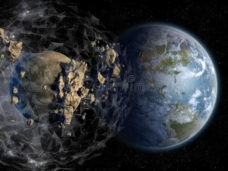 A plexus sphere force field protects Earth royalty free illustration