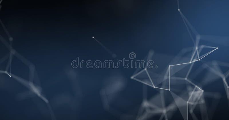 Plexus tła, futurystycznego i cyberprzestrzeni pojęcia projekt, Abstrakcjonistyczny błękitny geometryczny wireframe 3D tło ilustracja wektor
