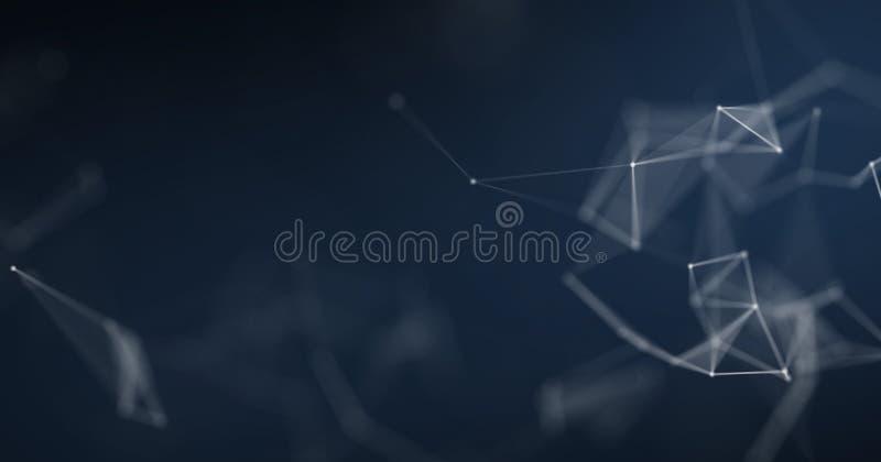 Plexushintergrund, geometrisches wireframe Polygon der Zusammenfassung 3D Futuristischer oder Wissenschafts- und Cyberspacekonzep stock abbildung