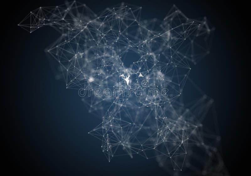 Plexuslinjer, prickar och ljusa strålar med ljusa punkter Abstrakt teknologi-, vetenskaps- och teknikbakgrund Djup av fältsetten stock illustrationer