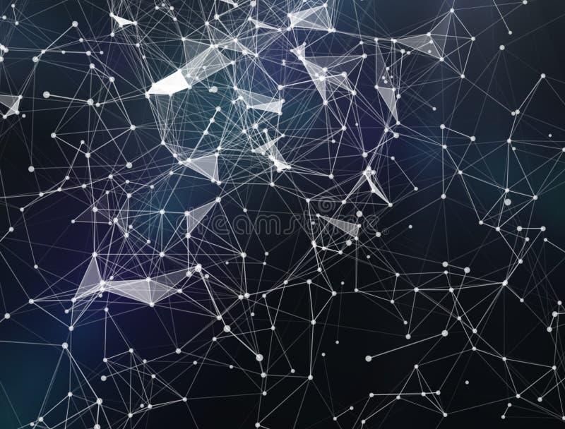 Plexusphantasie-Zusammenfassungstechnologie und Technikhintergrund Wiedergabe 3d Abstrakter digitaler Hintergrund mit kybernetisc stock abbildung