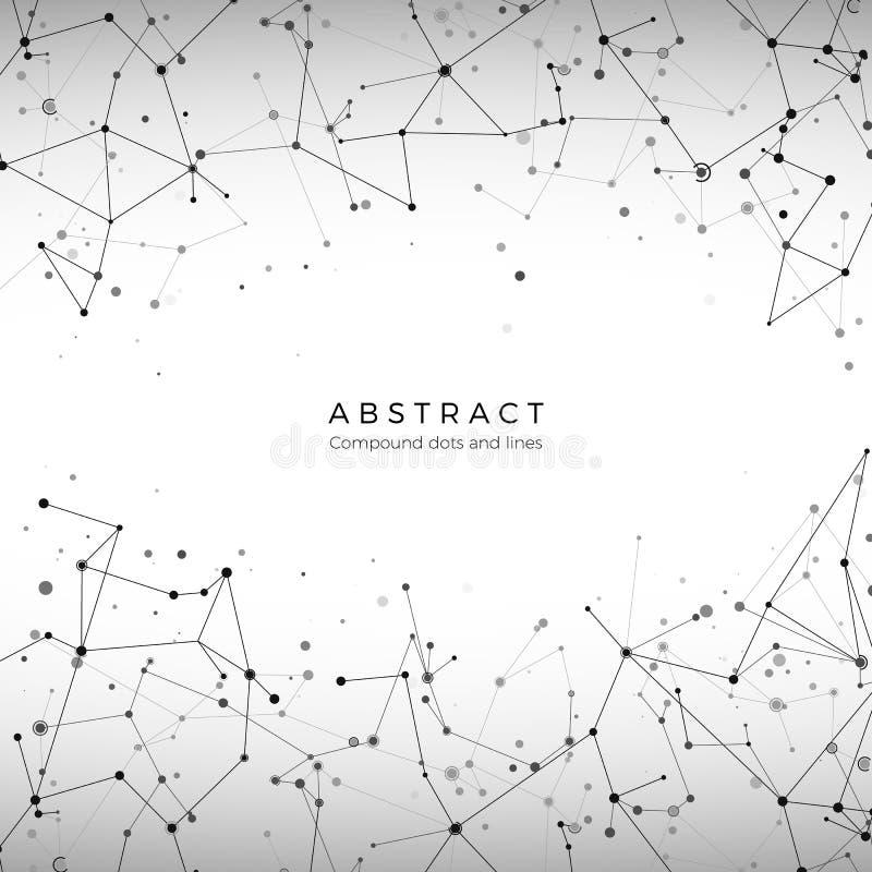 Plexusreihenmuster Partikel, Punkte und Linien Großes Datenkonzept Digital-Masche Element des Technologiehintergrundes Vektor lizenzfreie abbildung
