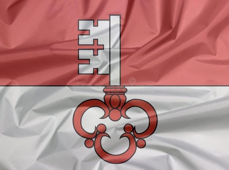 Pli de fond de drapeau d'Obwald, le canton de la confédération de la Suisse illustration stock